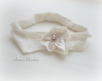 Porcelain - Ivory Stretch Headband - Cream Flower Pearl - Girls Newborns Baby Infant Adults