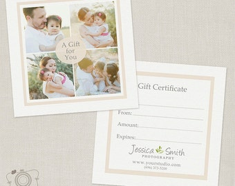 Photography Gift Certificate Template 005 - C138, INSTANT DOWNLOAD