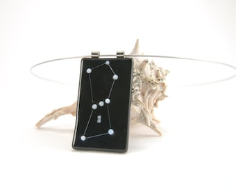 Astronomy necklace: Orion, the Hunter constellation fused glass pendant, black and white, star gazer gift, night sky skies jewelry, b&w pend