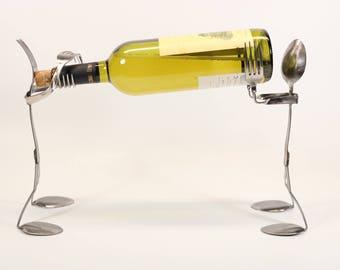 Found object spoon & fork sculpture wine bottle holder