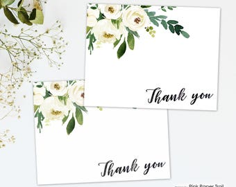 Dainty White Florals Printable Thank You Cards for Birthdays Baby Showers Bridal Showers or Any Occasion, Blank White Floral Thank You Card