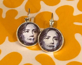 Hillary Clinton glass cabochon earrings- 16mm