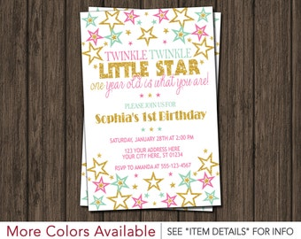 Twinkle Twinkle Little Star Birthday Invitation | Pink and Gold First Birthday Invitations | 1st Birthday Invite | Personalized & Printable