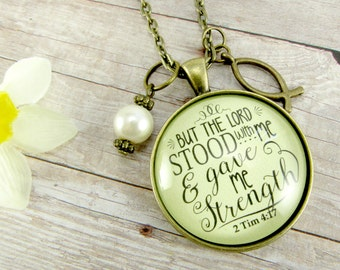 But the Lord Stood With Me Bible Verse Christian Necklace, Shabby Vintage Style Encouragement Gift, Jesus Fish Charm