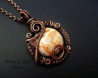 Wire Wrapped pendant necklace / copper jewelry / wire wrapped jewelry handmade / Crazy Lace agate gemstone / woven wire jewelry / earthy