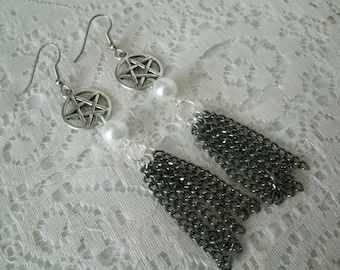 Pentacle Earrings, wiccan jewelry pagan jewelry wicca jewelry goddess jewelry witch witchcraft pentagram gothic metaphysical wiccan earrings