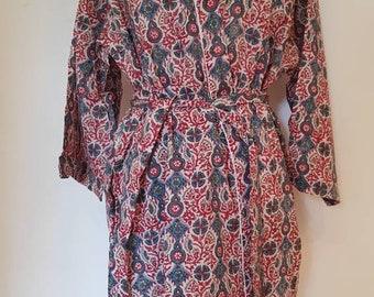 Cotton Bathrobe - Kimono Indian block print design - bridesmaid -wedding robes -vacation - holiday - bohemian style.