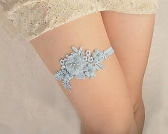 light blue lace bridal garter, wedding garter, lace garter, bride garter, vintage floral garter, something blue garter,garters for wedding
