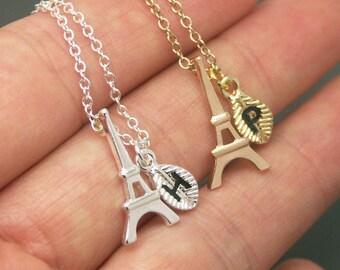 Eiffel Tower Necklace, Eiffel necklace, Personalized Initial Necklace, Eiffel Tower Charm necklace, Eiffel Jewelry, Paris jewelry MP012
