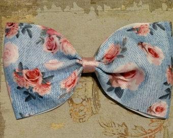 Denim Floral Bow, Floral bow, Denim hair bow, pink rose bow, Hair bows for girls, Girls bows, Teen bows