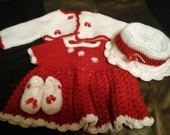 Crocheted baby dress w/bolero jacket, hat and Mary Jane booties