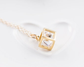 Crystal cube necklace, gold filled chain, minimalist jewelry, layering necklace, everyday necklace, CZ necklace, bridal jewelry, for her