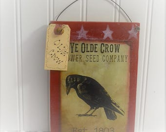 Primitive Crow Art - Rustic crow sign - Country Primitive - Rustic Country - Black Crow - Hanging Farmhouse Sign