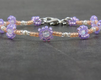 Girls Daisy Chain Anklet - Children's Seed Bead Jewelry - Child's Ankle Bracelet - Kids Summer Jewelry - Purple Flower Anklet