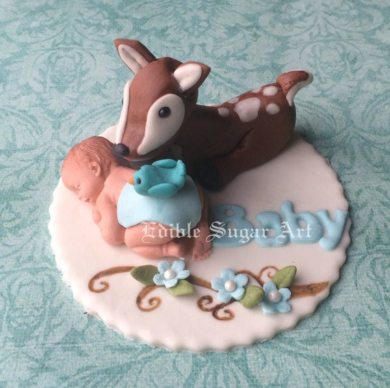Woodland Deer Baby Shower Baby Deer Fondant Cake Topper