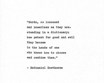 Nathaniel Hawthorne Hand Typed Art 'Words' Vintage Typewriter Print Gift For Writer American Author Book Quote Literary Print Writer Quote
