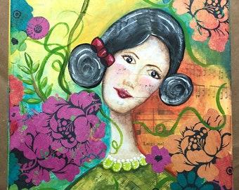Rachel Among the Roses, Mixed Media Girl