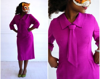 Vintage 60's Fuchsia Fitted Wiggle Dress with Preppy Pointed Collar and Necktie | Medium