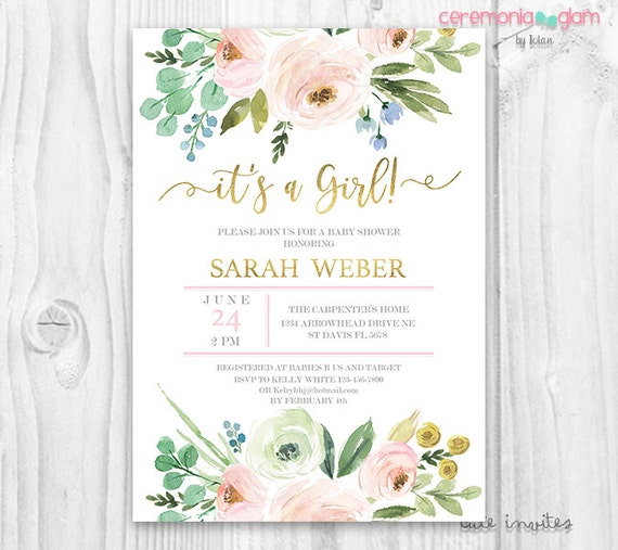 Its a girl baby shower invitation blush and gold pink like this item filmwisefo Choice Image