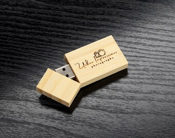 Set of 10 Wooden Bamboo 4GB/8GB/16GB - Personalized Custom Wooden Bamboo 2.0 USB Flash Drive - Laser Engrave your own design!