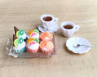 Miniature Cupcakes with Tea Set,Miniature Cakes,Miniature Coffee Set,Miniature Sweet,Miniature Tea Set,Dollhouse Fruit Cakes,Kiwi,Orange