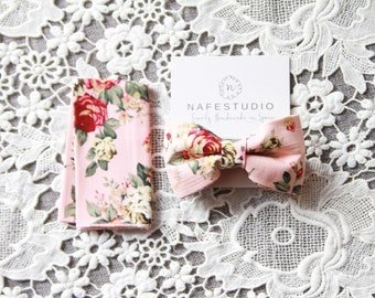 Mens Bowtie Bow Tie for Men - Wedding Groom Bow Tie Bow Ties - Mens Boys Bow Tie - Rustic Wedding Boho Wedding Pink Floral Bow Tie