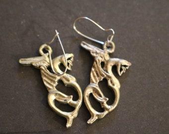 Silver Flying Dragon Pierced Earrings