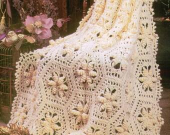 Curlicue Hexagons Afghan Crochet Pattern PDF