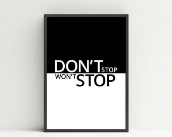 HIIT Printable Poster - Don't Stop, Won't Stop, Workout Motivation Print, Exercise Room Wall Art, Gym Room Signage