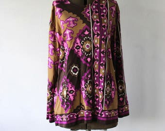 70s Psychedelic Pucci Era Op Art Long Sleeve Top Medium to Large