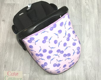 Purple Cherry Cover - Carseat Canopy - Car Seat Cover - Pebble Hood - Sunshade- Car Seat Sun Canopy - New Baby Girl Boy - Infant Carrier