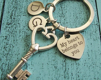 Valentines Day gift, boyfriend keychain, gift for wife, gift for men wedding, my heart belong to you, wife to husband gift, romantic gift