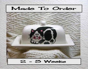 Pottery Butter Dish Black & White Smiling Cat Handmade Ceramic Original by Grace M Smith