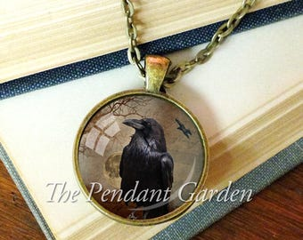 RAVEN PENDANT Halloween Jewelry Raven Necklace Halloween Costume Wicca Jewelry