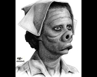 "Print 8x10"" - Nurse - Eye Of The Beholder The Twilight Zone Rod Serling Pig Face Doctor Nurse Dark Art Horror Surreal Fantasy Vintage"