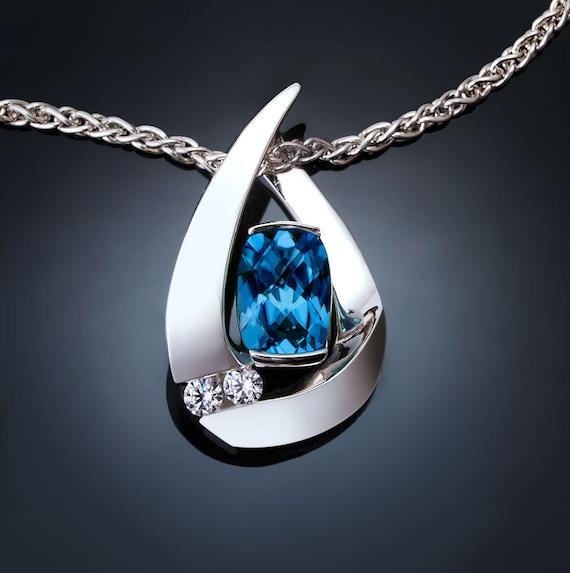 London blue topaz necklace, white sapphires, Argentium silver pendant, mother's day gift, December birthstone, modern, birthday gift - 3378
