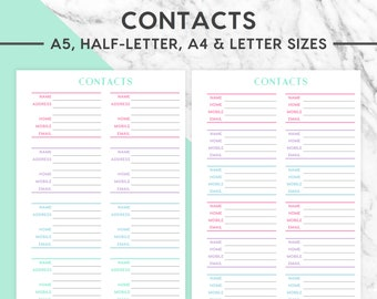 NEW! CONTACTS Printable | Pastel, A5, A4, Half-Letter, Letter,