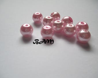Set of 20 pastel pink Glass 8 mm beads