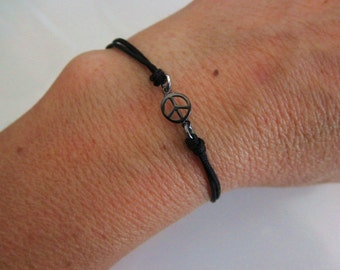 Peace sign friendship bracelet gunmetal sterling silver