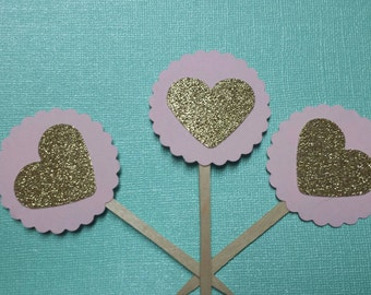 12 Pink Gold Crown heart Princess Birthday Party Baby Shower Cupcake Toppers