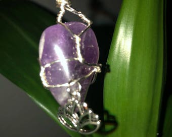 Wire wrapped Amethyst Stone necklace