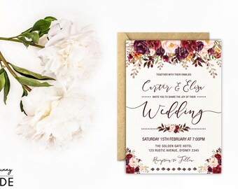 Rustic Floral Wedding Invitation. Autumn Flower Wedding Invite. Watercolor Fall Flowers. Marsala Burgundy Pink Party. Bridal Shower. FLO19