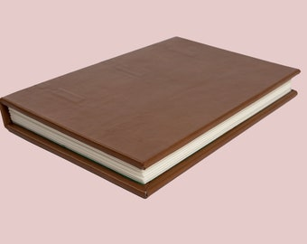 Hand bound light brown leather journal