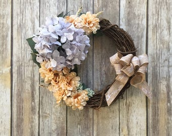 Hydrangea Wreath - Spring Wreath - Floral Grapevine - Front Door Wreath - Burlap Wreath - Peach Floral - Cottage Chic Decor - Country Chic