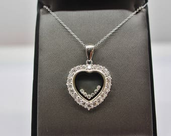 Sterling Silver Open Heart with CZ Pendant Necklace