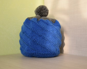 Blue handmade merino wool beanie cap for a boy toodler gift