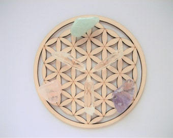 SMALL Size. FLOWER of LIFE Wooden Crystal Grid. Flower of Life Grid. Wooden Crystal Grid. Crystal Grid. Wooden Mandala. Wooden Coasters