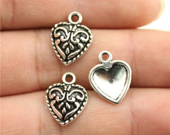 20 Heart Charms, Antique Silver Tone Charms (1L-241)