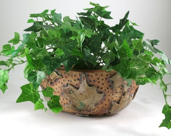 Large Ceramic Planter, Plant Holder, Pottery Flower Pot, Handmade Indoor Planter, Maple Leaves, Brown Clay Pot, 286