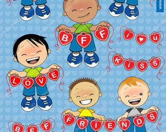 60% off Love Boys Clipart - Kiss - Friends BFF I love you clipart kids banner, hearts banner Set 013